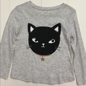 Gray Long Sleeve Top With Black Cat